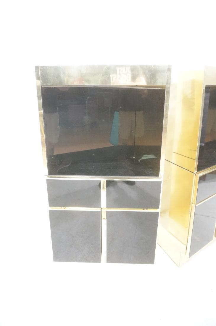 2Pc Modernist Brass Bar Cabinets. Black and brass - 3