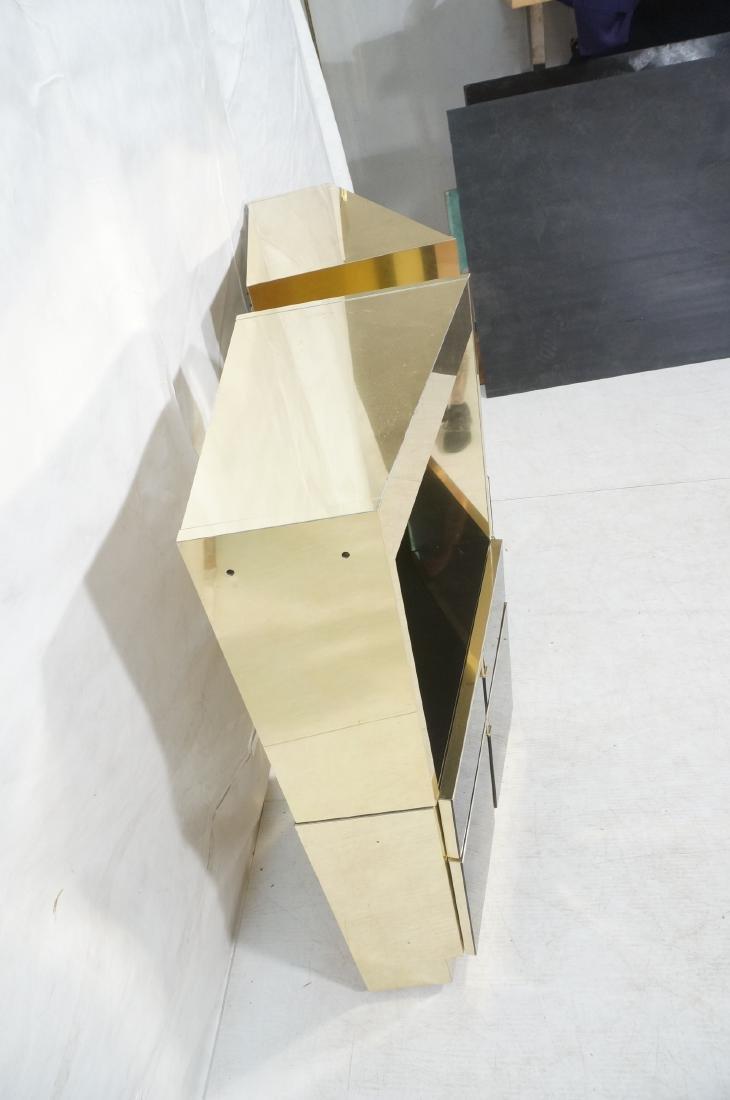 2Pc Modernist Brass Bar Cabinets. Black and brass - 5