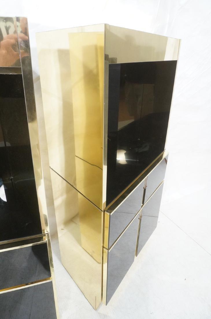 2Pc Modernist Brass Bar Cabinets. Black and brass - 6