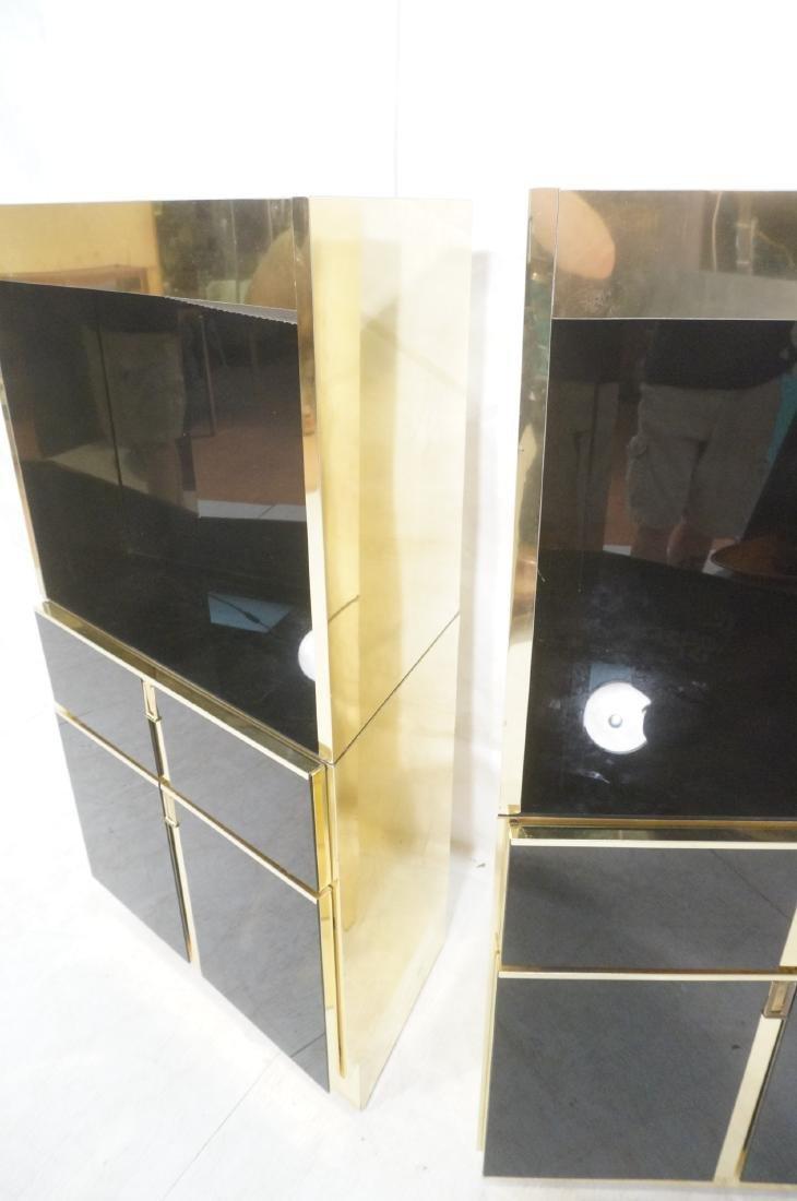 2Pc Modernist Brass Bar Cabinets. Black and brass - 7