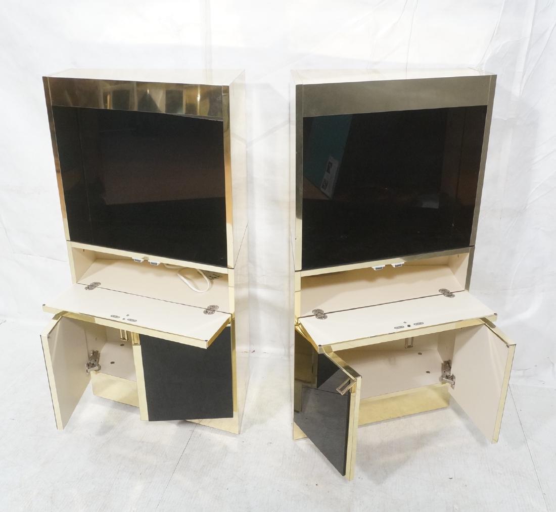 2Pc Modernist Brass Bar Cabinets. Black and brass - 8