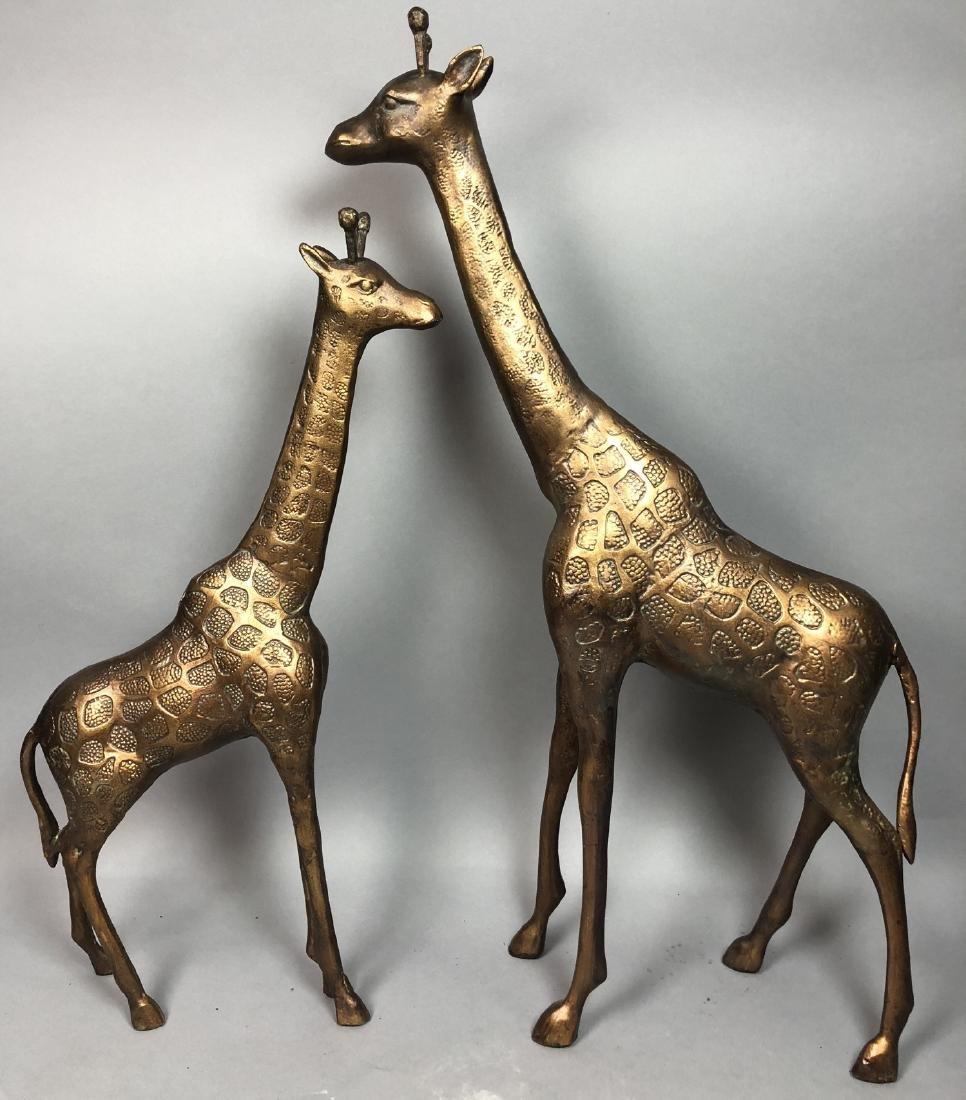 Pr Figural Gold Giraffe Table Sculptures. Texture