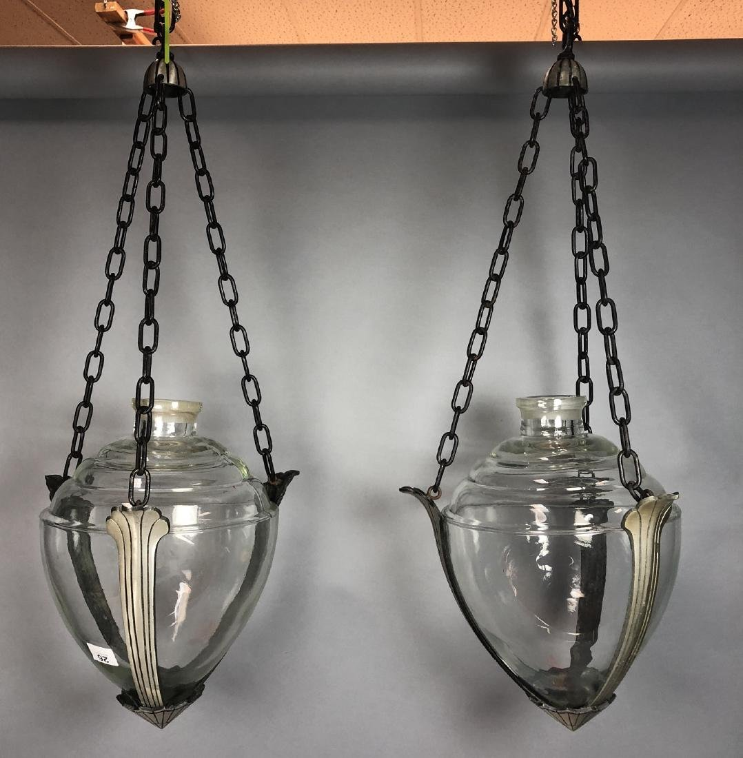 Pr of Hanging Apothecary Jars. Glass vessels in m