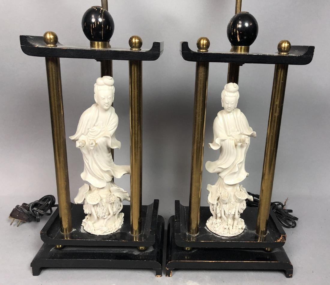 Pr Asian Style Figural Porcelain Table Lamps. Whi