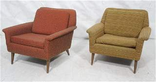 Pr Modernist Wide Arm Lounge Chairs Mid century