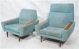Pr Mid Century Modern Turquoise Fabric Lounge Cha