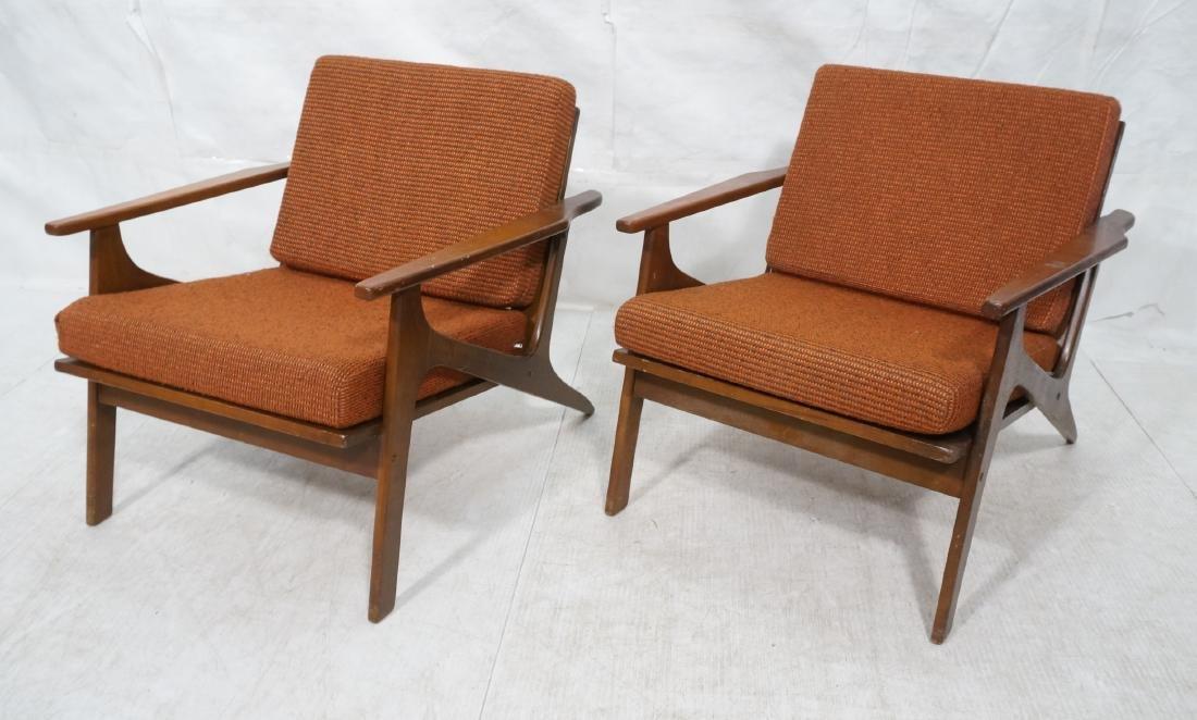 Pr Danish style Modernist Lounge Chairs. Open Arm