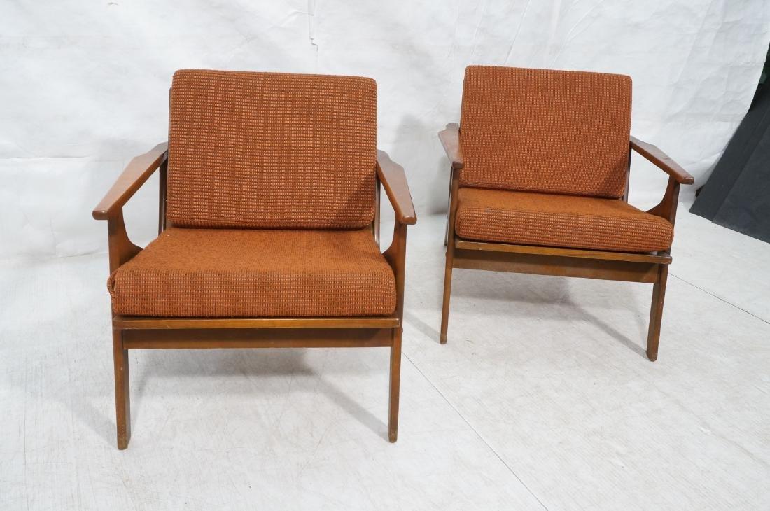 Pr Danish style Modernist Lounge Chairs. Open Arm - 2