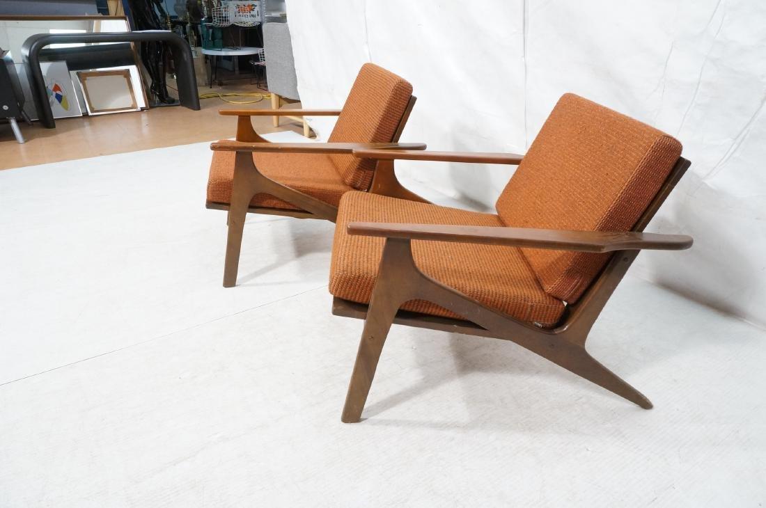 Pr Danish style Modernist Lounge Chairs. Open Arm - 3