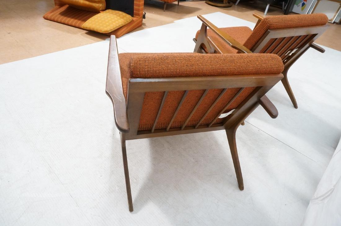 Pr Danish style Modernist Lounge Chairs. Open Arm - 4