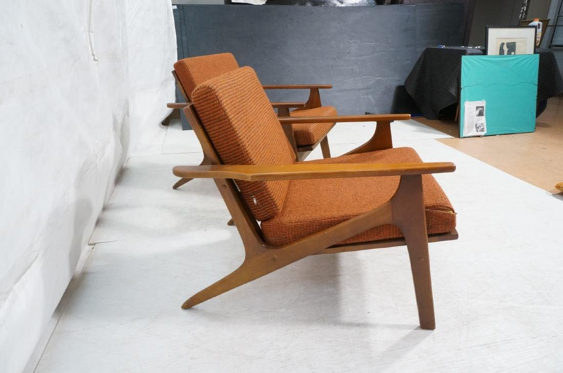 Pr Danish style Modernist Lounge Chairs. Open Arm - 6