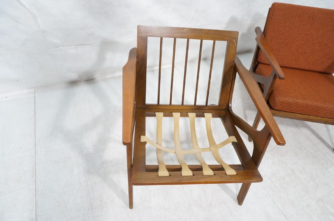 Pr Danish style Modernist Lounge Chairs. Open Arm - 8