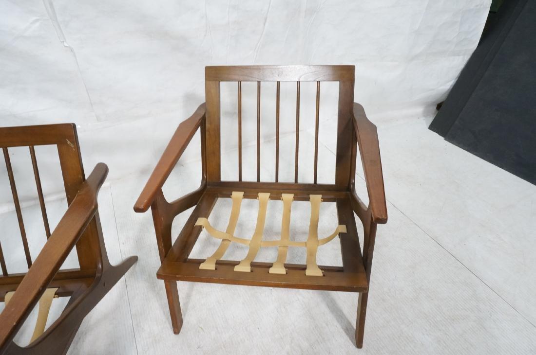 Pr Danish style Modernist Lounge Chairs. Open Arm - 9