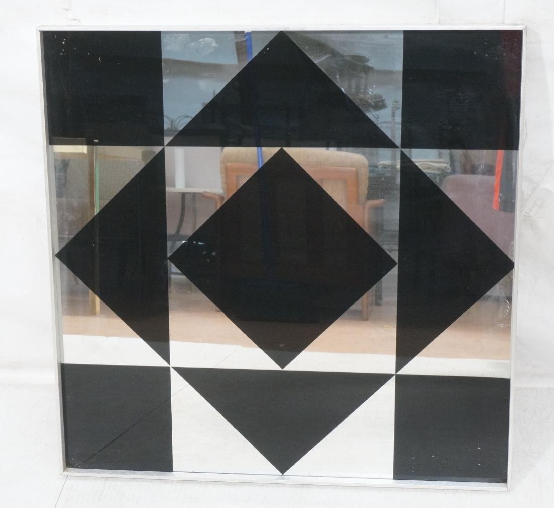 Op Art Mirrored Wall Hanging. Black Geometric Sha