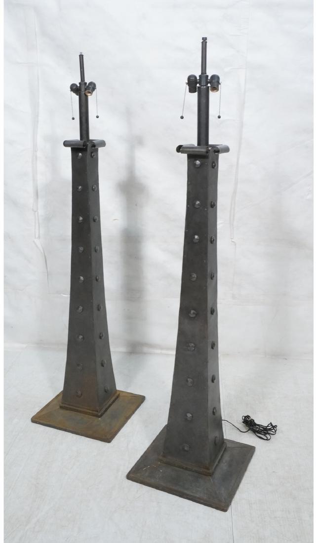 Pair Brutalist Metal Floor Lamps with hammered ri