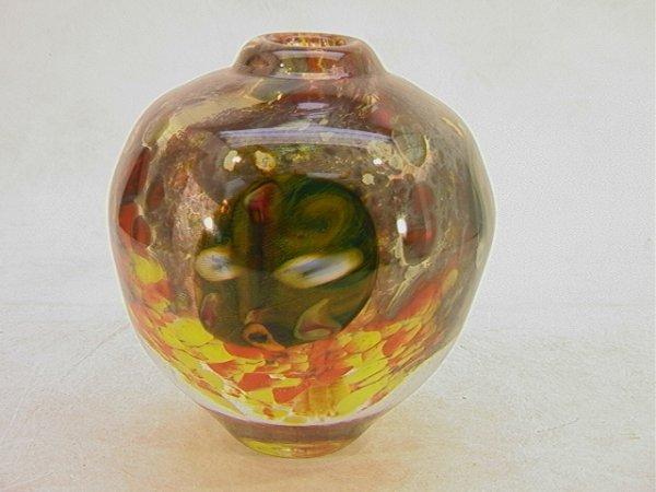 5: Artist Signed Art Glass Vase 81.  Very Heavy glass f