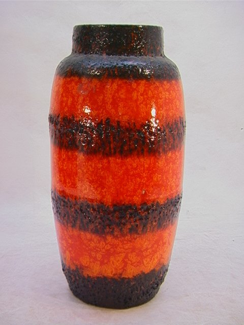 9: Large Italian Pottery Vase with Lava Glaze.  Unmarke