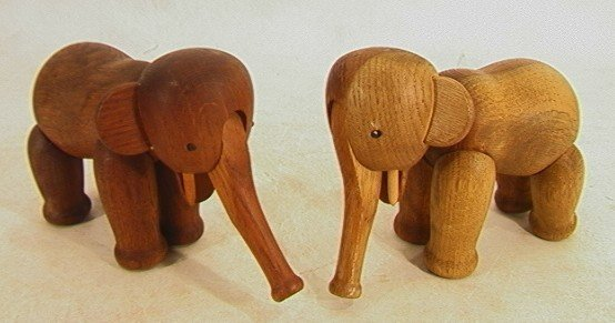 11: 2 KAY BOJESEN Denmark Teak Elephants. Branded copyr