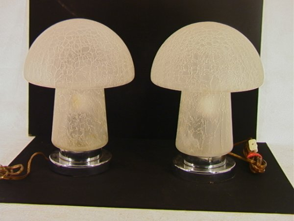 12: Pair of Crackle Glass Mushroom Table Lamps.  Chrome