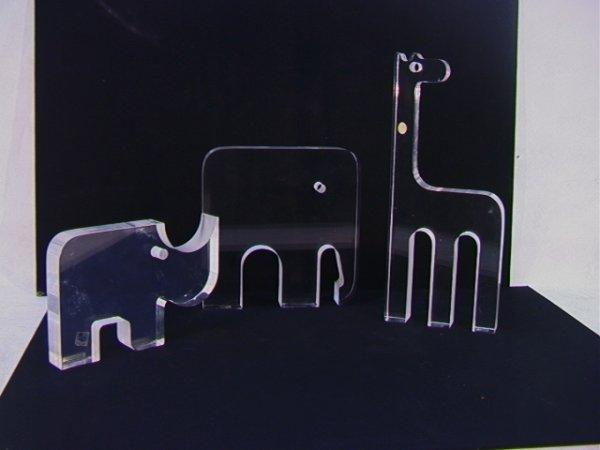 13: 3 Team Guzzini Italian Lucite Animal Sculptures.  E