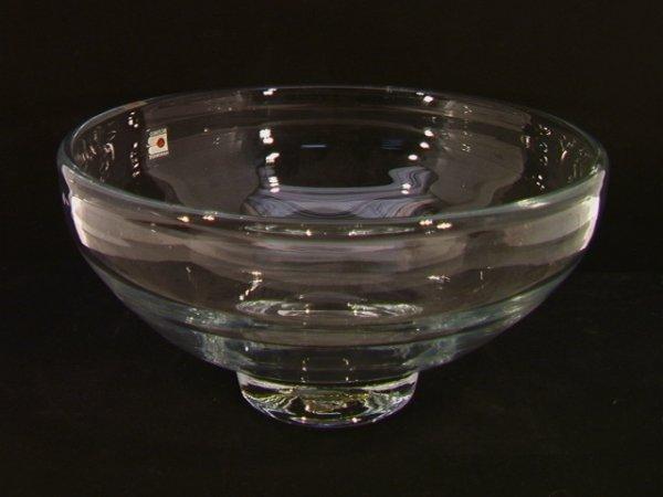 14: Hand Made Blenko Art Glass Center Bowl.  Labeled.