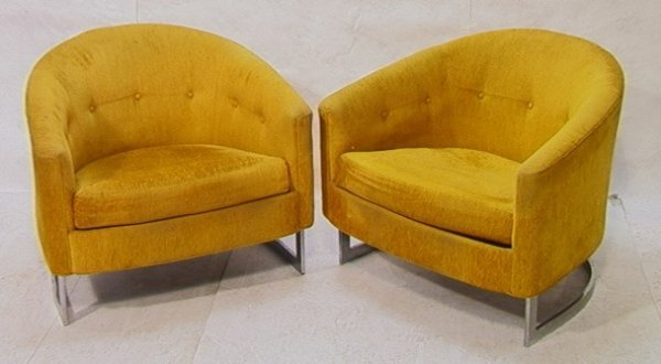 126: Pair Selig Imperial Barrell Back Chairs Chrome Bas