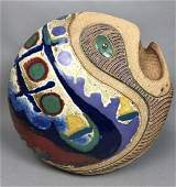 Signed Modernist Glazed Ceramic Fish Vessel Sculp