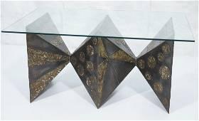 PAUL EVANS attributed Sculptural Metal Base Dinin