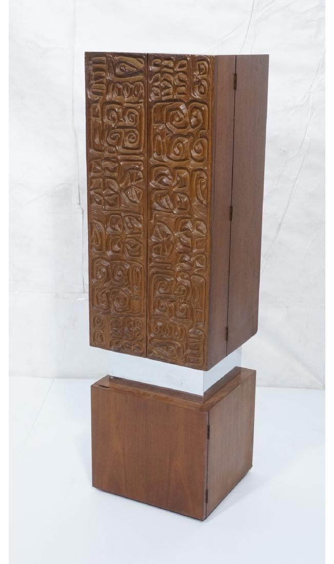 Walnut 2 Door Bar Cabinet. Modernist sculptural r