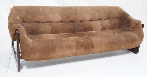 Brazilian LAFER Brown Suede Sofa Couch. Patchwork