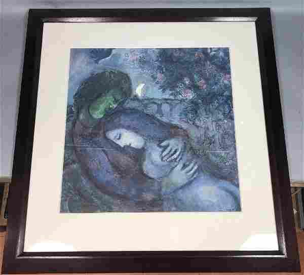 """MARC CHAGALL Lithograph Print """"Les Amants en Bleu"""
