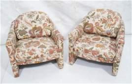 Pr Modernist SELIG Upholstered Lounge Chairs. Com