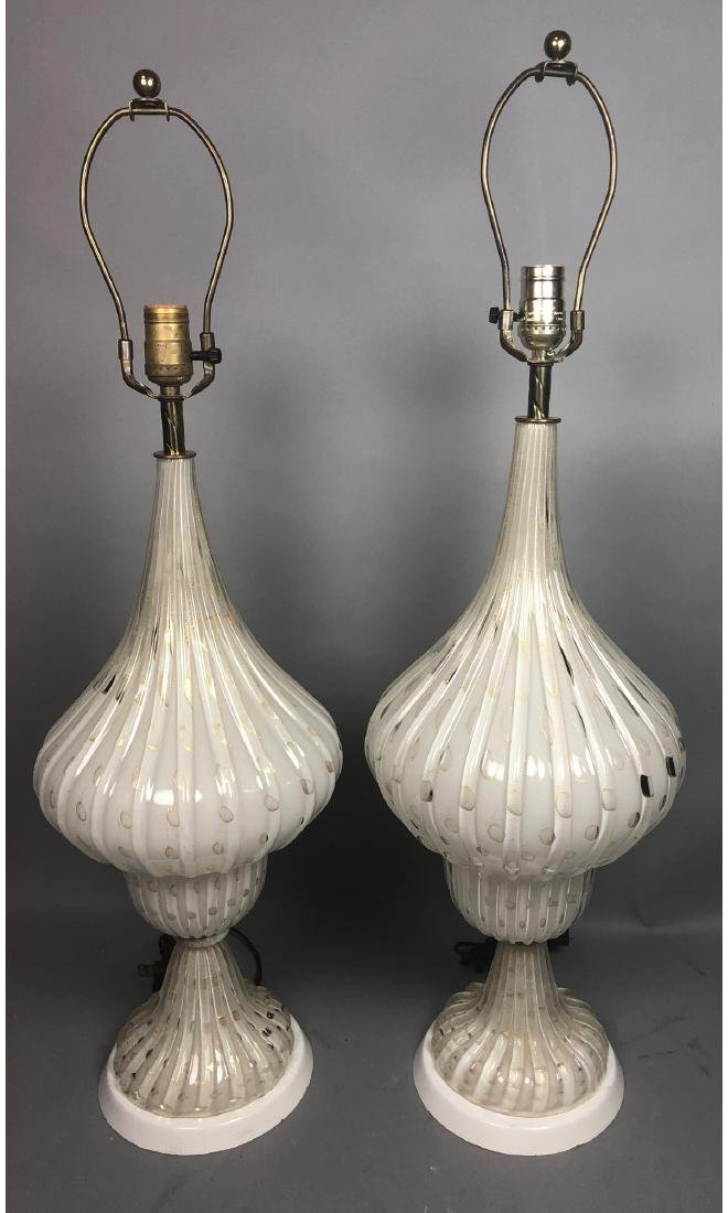 Pr Lg Murano Italian Art Glass White Table Lamps.