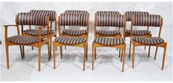 8 Danish Modern Teak Dining Chairs. OD Mobler AS.