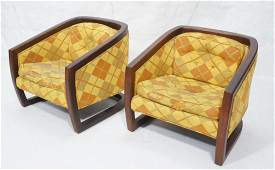 Pr Modernist Wood Frame Lounge Chairs. Heavy wood