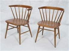 2 Modernist Spindle Back Captains Chairs Barrel