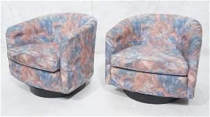 Pair Milo Baughman Style Swivel Lounge Chairs. W