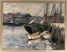 CHARLES P GRUPPE Watercolor Marine Scene Boats