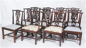 12 Vintage Mahogany Dining Chairs Pierced slat b