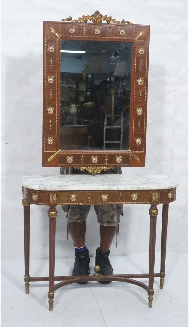 2pc Hall Console Table & Wall Mirror. Marble top