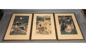 Set 3 Signed Japanese Wood Block Prints. Geisha i