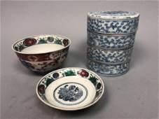 Lot Asian Stoneware Ceramic Tableware 4 part sta