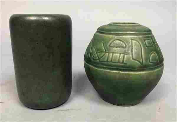 2pc Matte Green Glazed Art Pottery. MARBLEHEAD. 1