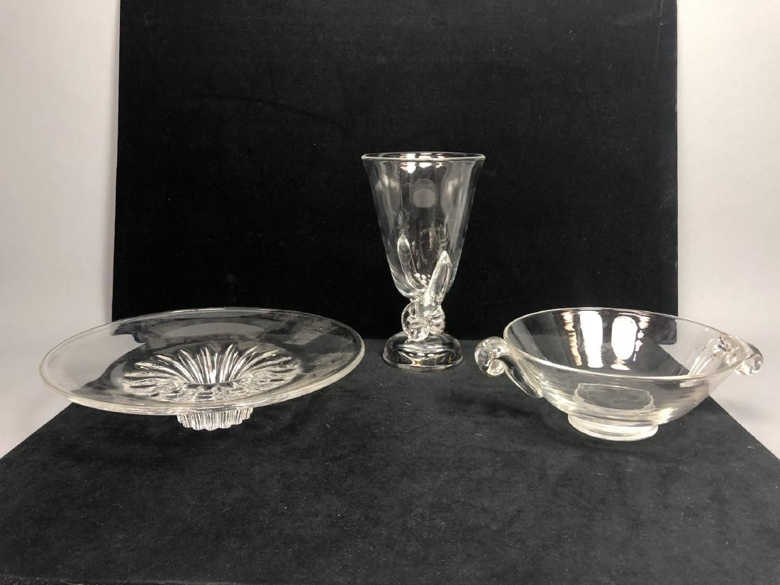 3 pc STEUBEN Crystal Lot. Low bowl with modernist