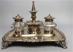 Vintage Silver plate Crystal Inkwell Desk Set. De