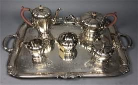 6pc Vintage Sterling Silver Tea Service Handled