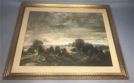 L. GECHTOFF Goache Watercolor Landscape Painting.