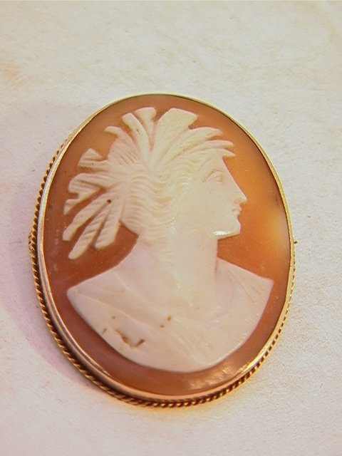 500: Gold Framed Shell Carved Cameo.  Oval bust form.