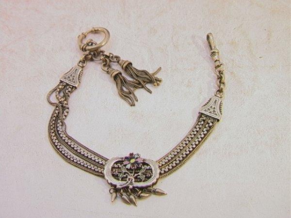 501: Antique Victorian Silver Watch Fob Slide Chain.  E