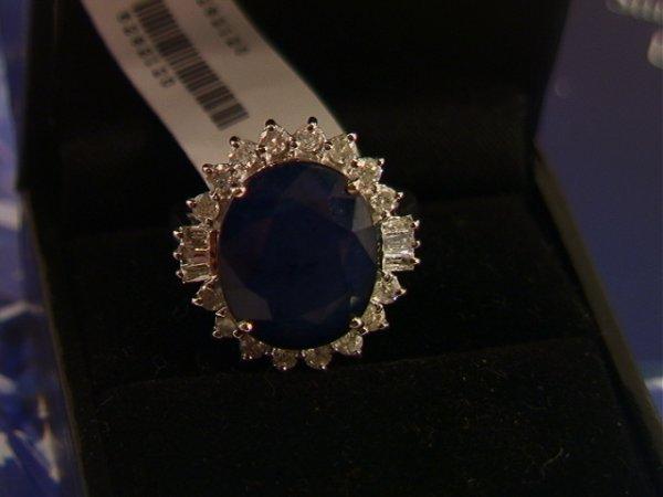 504: 14K Sapphire and Diamond Ring 11.36 ct Sapphire an